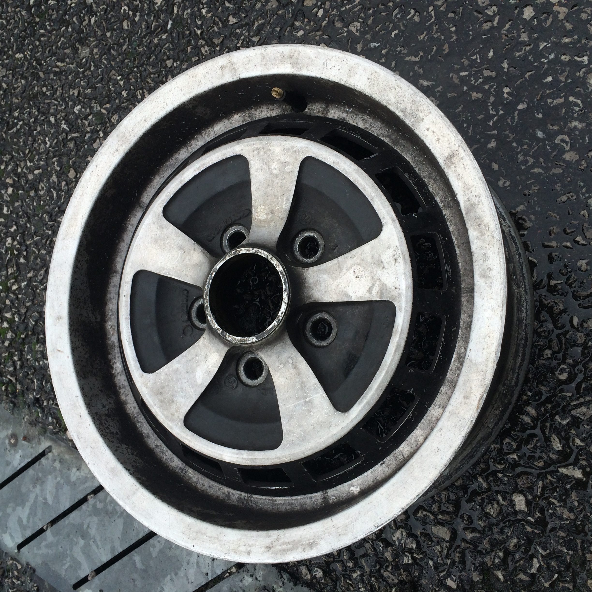 Jaguar wheel before refurbishment